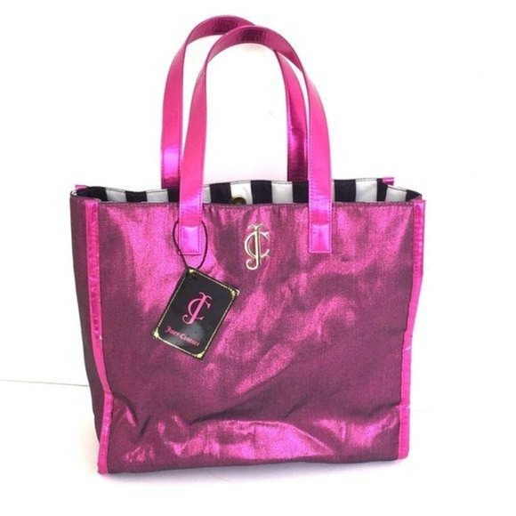 Juicy couture shimmering fuchsia canvas tote bag